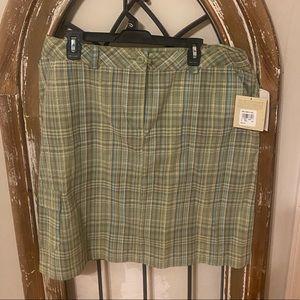 Green plaid seersucker cargo skirt